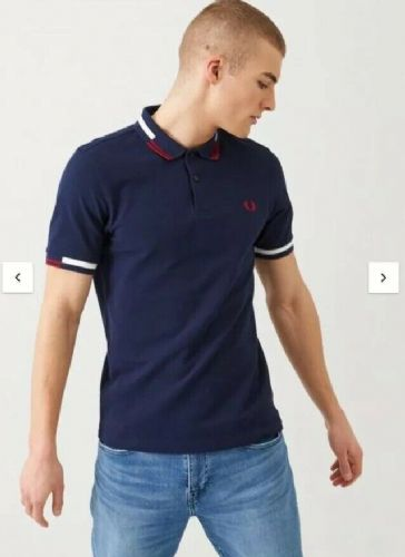 Fred Perry Abstract Tipped Polo Shirt Navy M8851 BNWT RRP £70 free UK RM24 deliv